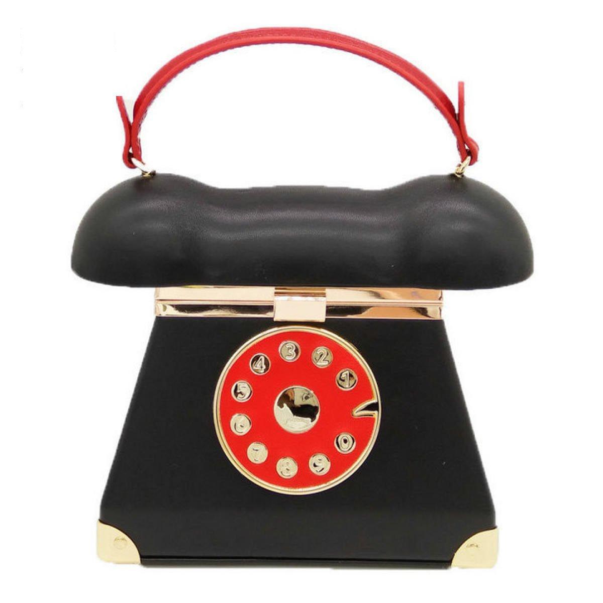 Fashion Trend Dinner Bag New Handbag Telephone Modeling Messenger Bag Retro Wild Mickey Bag, Red-OneSize Rain where bags