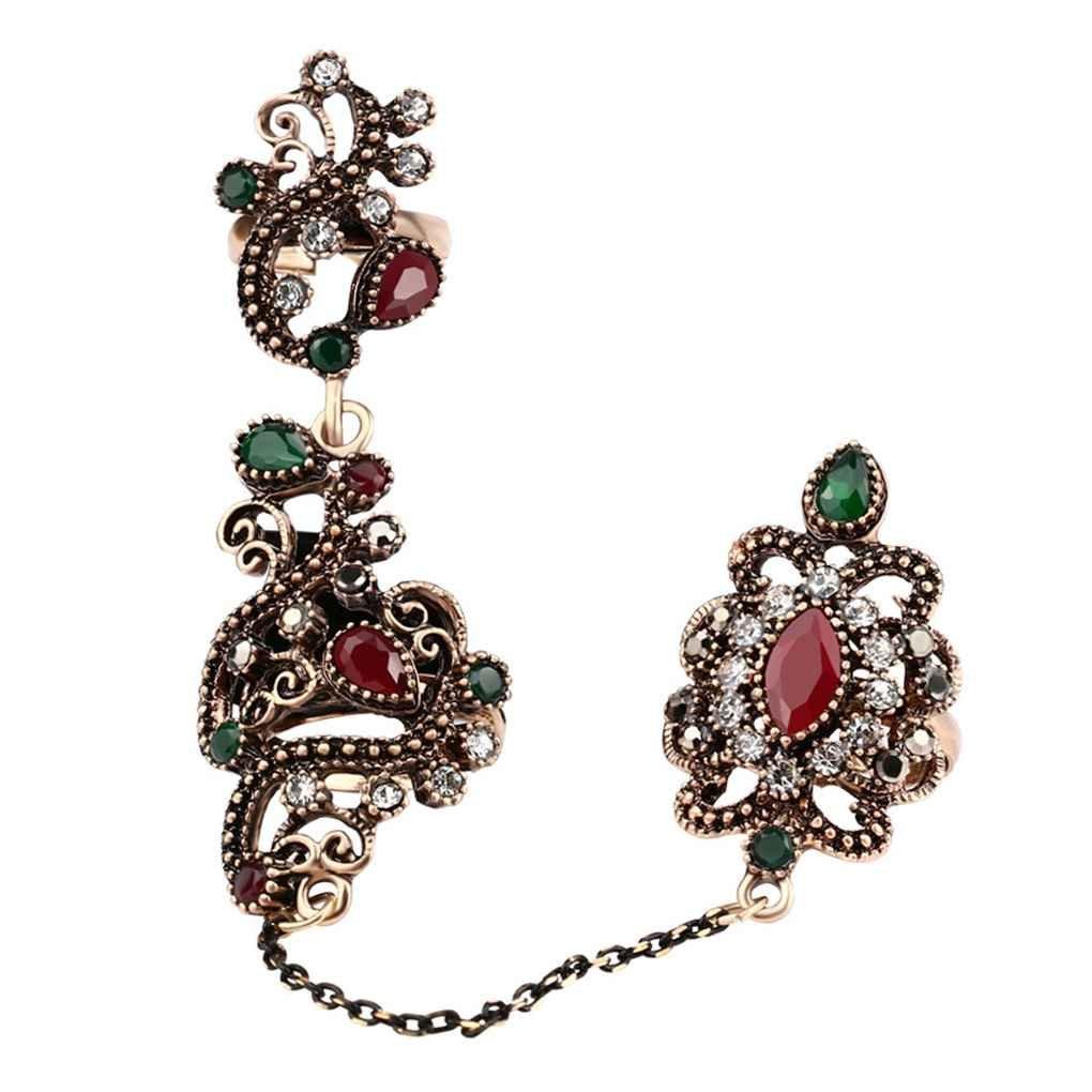 Bobury Anneau plaqué en or de style rétro à double anneau de fleurs de gemme réglable