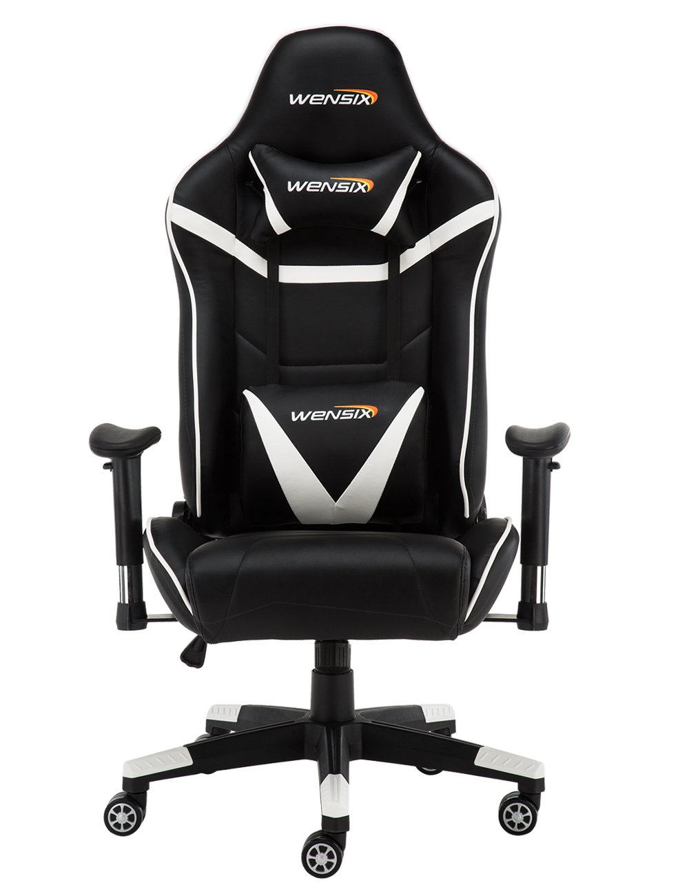 WENSIX Ergonomic High Back Computer Gaming Chair for PC Racing Chairs with Adjustable Headrest and Backrest (Black/White)