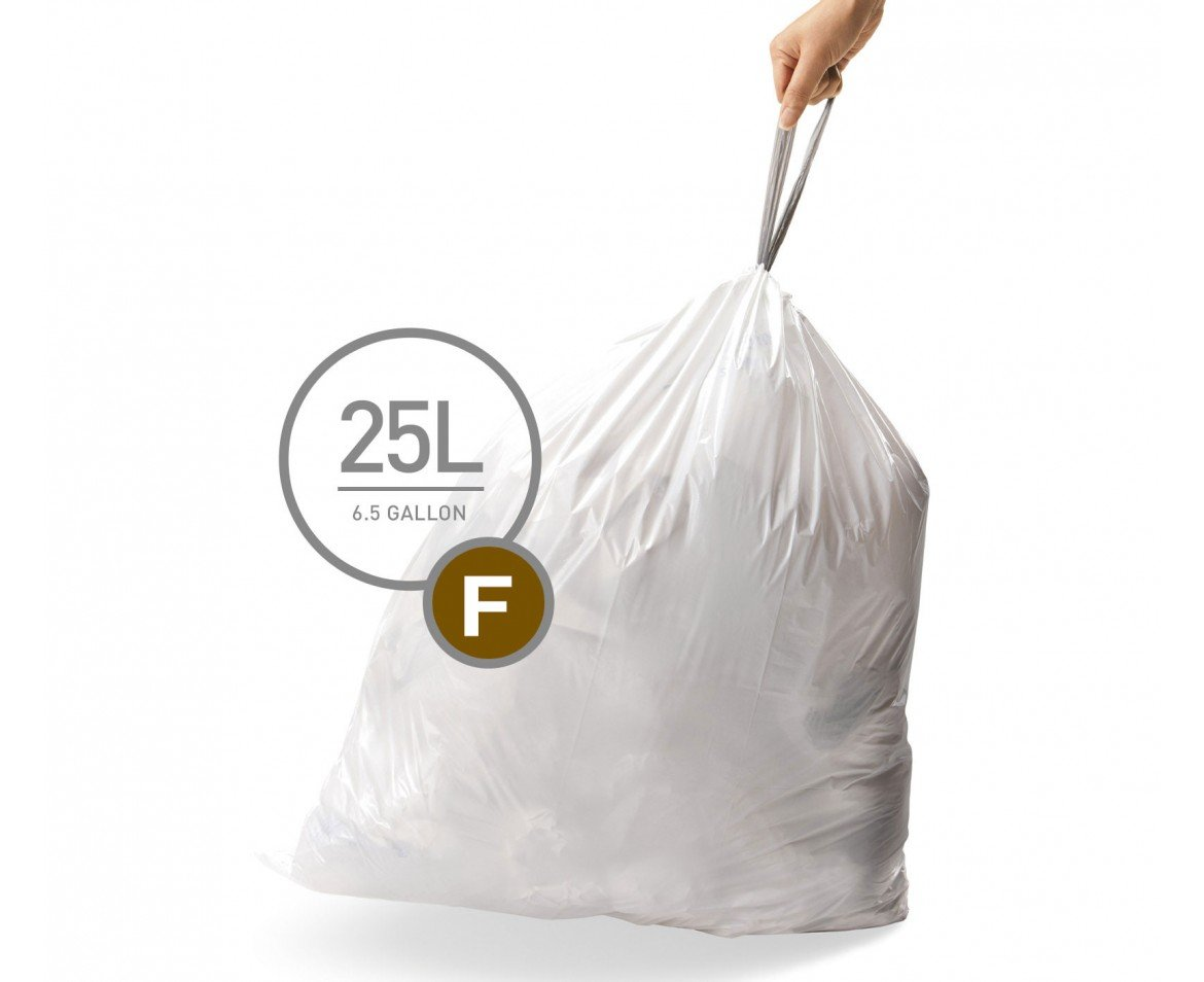 simplehuman Code F Custom Fit Drawstring Trash Bags, 25 Liter / 6.5 Gallon, 12 Refill Packs (240 Count) by simplehuman (Image #1)