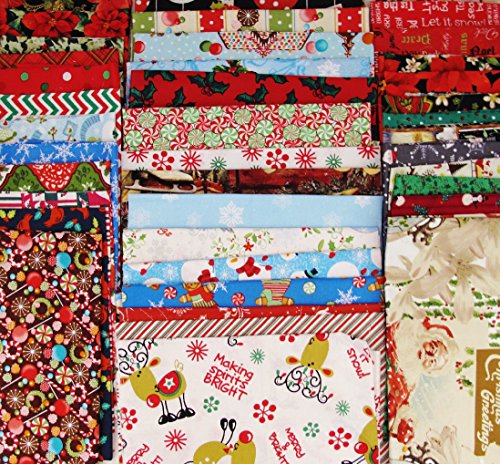 20 Christmas Winter Theme FAT QUARTERS Mix 100% Cotton ~ Quilt Fabric ~ Crafts ~ Sewing ~ Assorted Colors ()