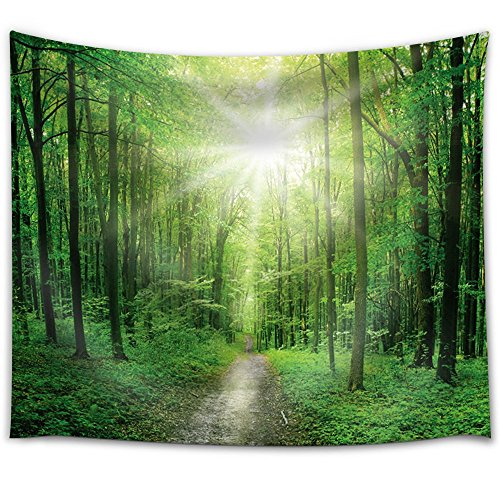 Big Bright Sun Illuminating a Path That Leads to a Forest Fabric Tapestry