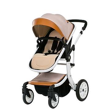 XINYU Cochecito De Bebé Alto Paisaje Puede Sentarse Bebé Reclinable Plegable Bicicleta Niños Recién Nacidos 0-3 Bb Carro De Bebé,Khaki: Amazon.es: Hogar