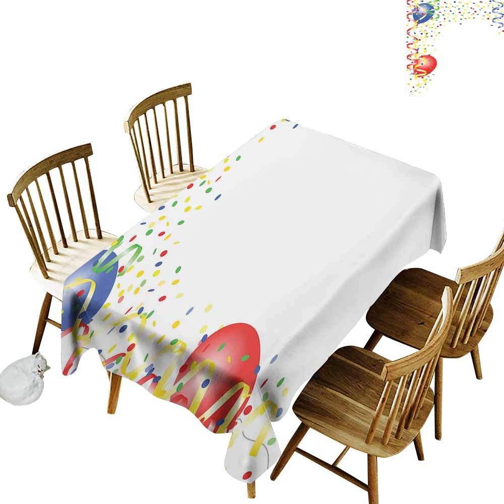 Onefzc Anti-Fading Tablecloths,Kids Party Childrens Birthday Concept with Balloons and Confetti Happy Surprise Cheerful,Fashions Rectangular,W60x84L Multicolor by Onefzc (Image #2)
