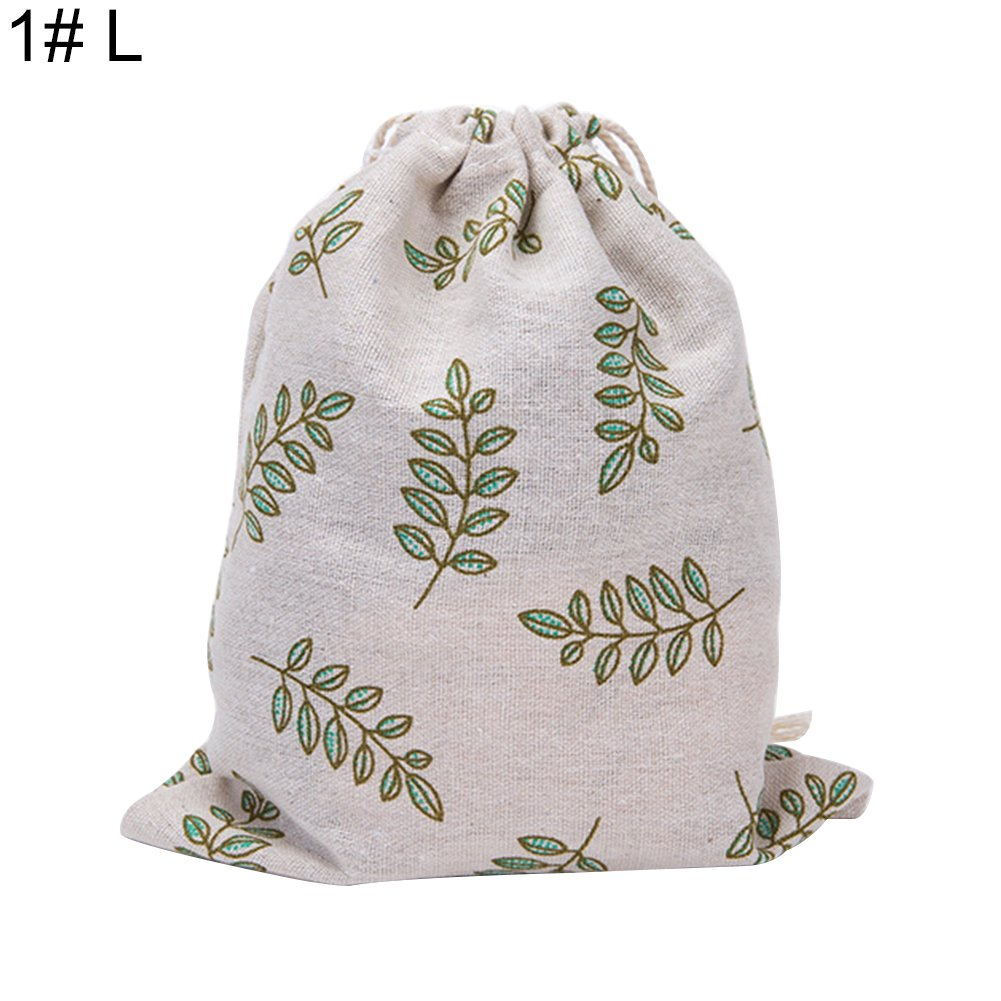 EUNOMIA Drawstring Bag Leaf Flower Cat Packing Organizer Storage Pouch Travel Accessory size L