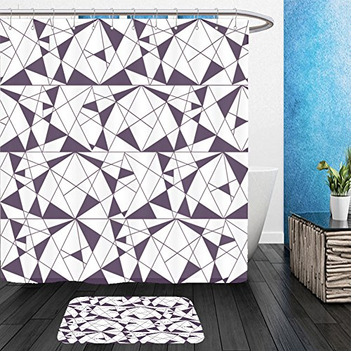 Vanfan Bathroom 2?Suits 1 Shower Curtains & ?1 Floor Mats Geometric seamless black and white pattern with triangles. Modern stylish texture. Vector wallpaper, background_69936227 From Bath room