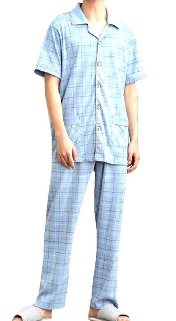 Tootless-Men Fine Cotton Short-Sleeve Underwear Long Johns Pajama Set 4 2XL