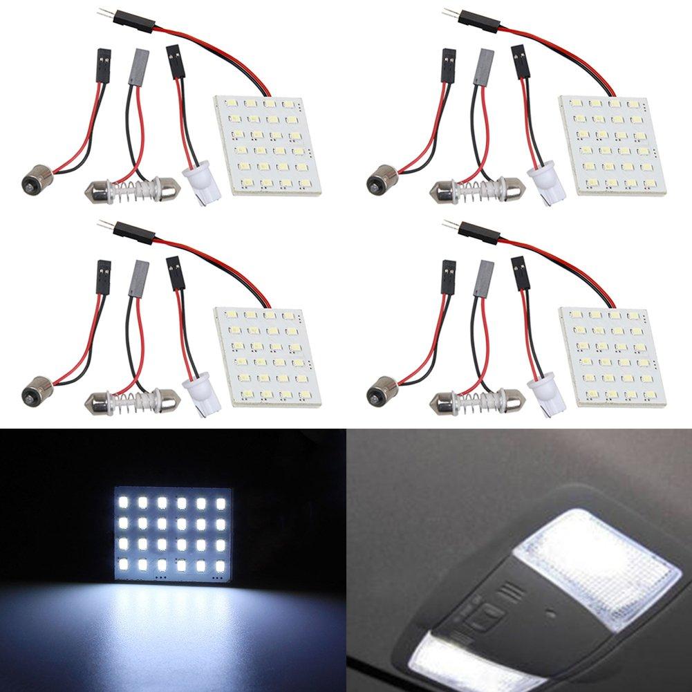 TABEN 4pcs White T10 BA9S Festoon LED 24SMD 1210 Panel Auto Car Interior Dome Map RV Trailer Light 12V