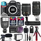 Holiday Saving Bundle for D7100 DSLR Camera + Tamron 70-300mm Di LD Lens + AF-P 18-55mm + Battery Grip + Shotgun Microphone + LED Kit + 2yr Extended Warranty + 32GB Class 10 - International Version