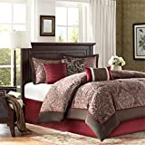 red and chocolate bedding - Madison Park Talbot King Size Bed Comforter Set Bed in A Bag - Red, Jacquard – 7 Pieces Bedding Sets – Ultra Soft Microfiber Bedroom Comforters
