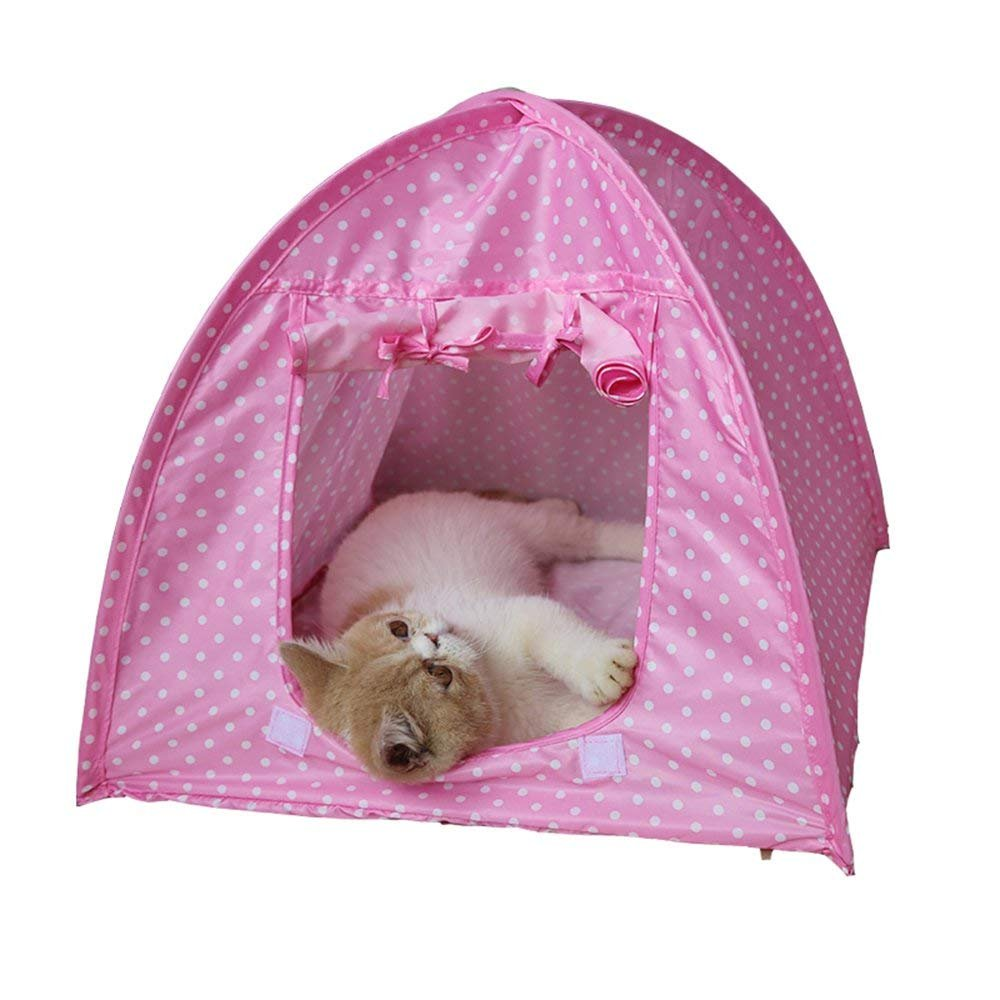 QCHOMEE Foldable Pet Polka Dot House Cat Anti-Mosquito Toy House Small Pet Waterproof Pet Cute House Pet Camping Tent House