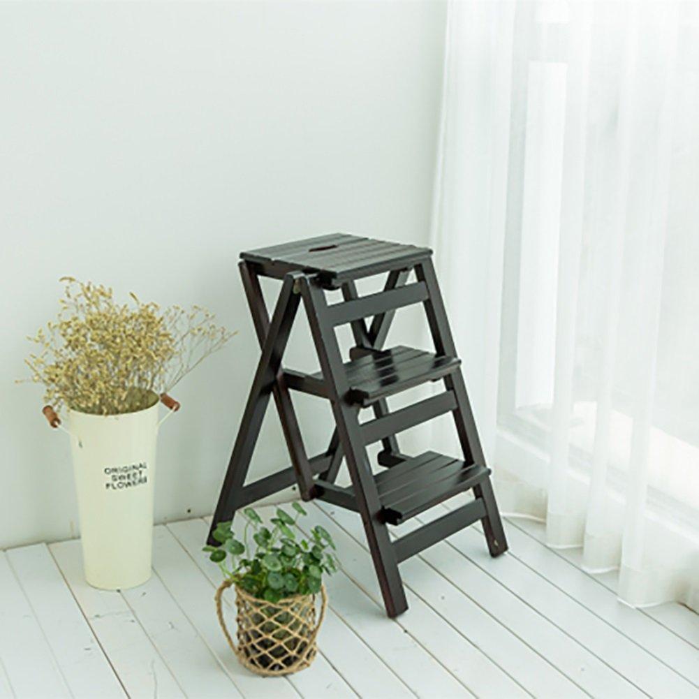 はしご便 3つの層のはしごの椅子現代の家庭の二重使用のステップのスツール木製のはし台の折り畳みのスツール (色 : Black walnut) B07F3DRJPX Black walnut Black walnut