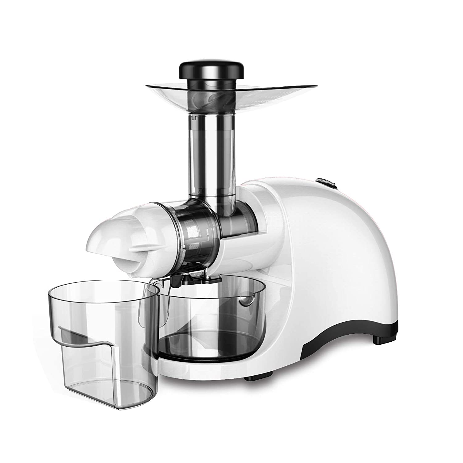 150-Watt Cold Press Professional Juicer Slow Speed Creates Continuous Fresh Healthy Fruit Vegetable /& Leafy Greens Juice at 60 RPM High Juice Yield Greenis F-9600 Horizontal Masticating Juicer White Tritan Material Ultra-Durable and BPA Free,