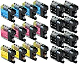 Skia Ink Cartridges Compatible Ink Cartridge Replacement for Brother LC101 ( 20-Pack )