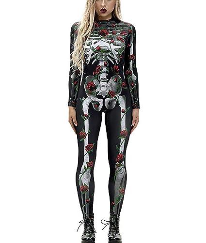 Idgreatim Traje de Halloween para Mujer, de Manga Larga, con Estampado 3D Rose Bone 3 Large