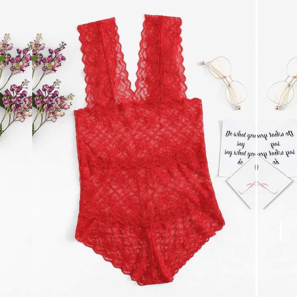 Goodpig Women Lingerie V Neck Lace Teddy Backless Sleepwear Pajamas Nightwear