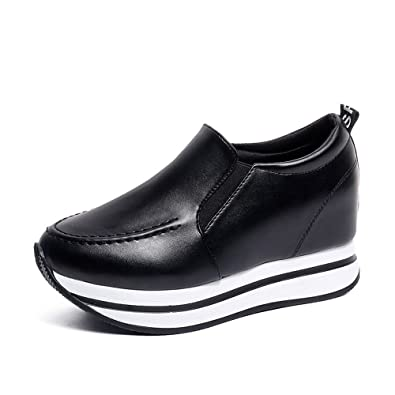 443d5318f7c2 Women s Casual Canvas Wedges Shoes Mid Heels Lace Up Fashion Sneakers  (Black 39 8