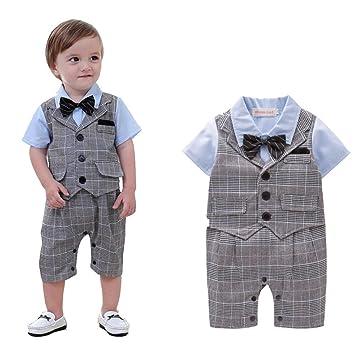 383a03f61f55b Ymgot ベビー ロンパース カバーオール キッズ フォーマル 男の子 半袖 チェック柄 幼児 出産祝い 撮影 記念日