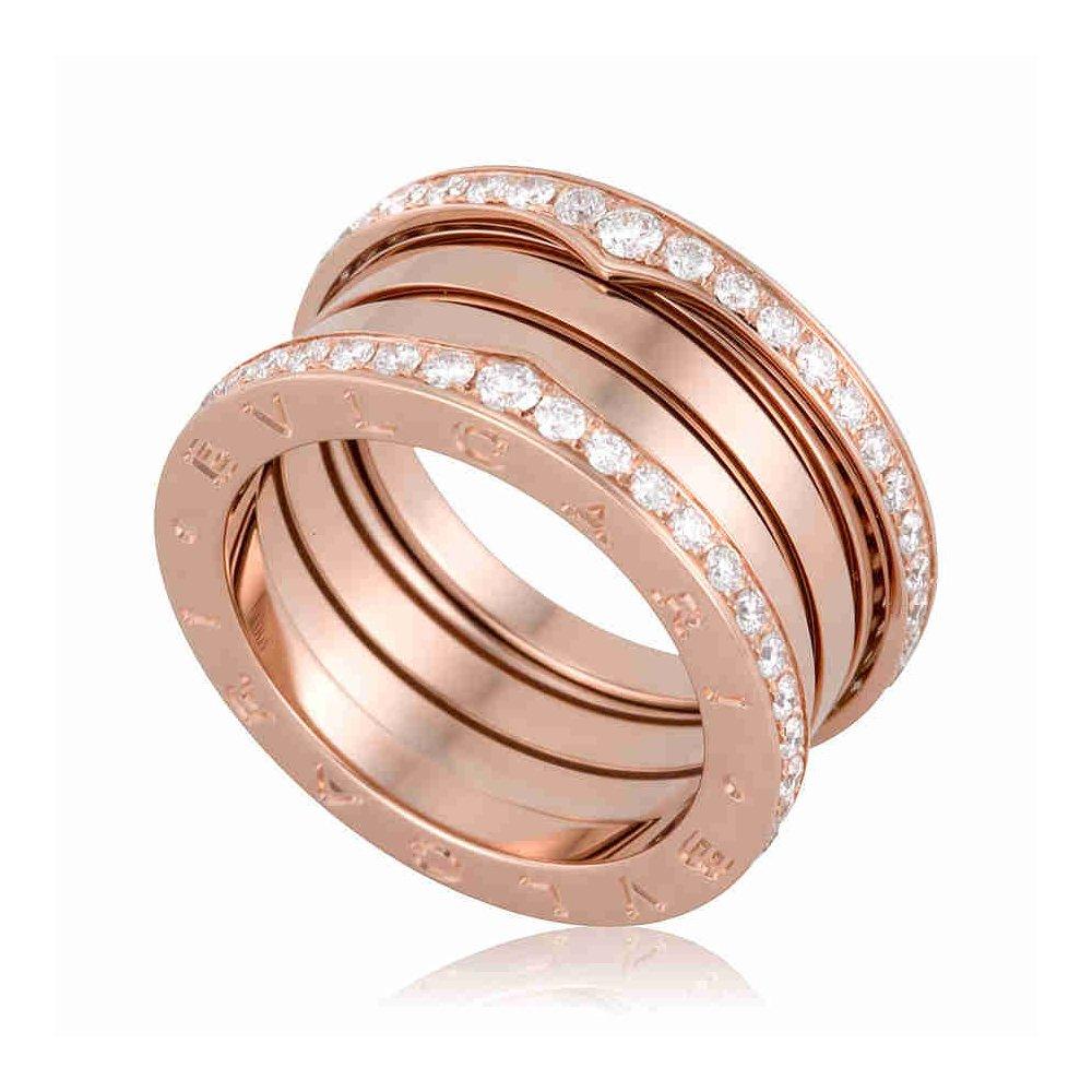 bf5a7f0589c87 Bvlgari B.Zero1 18K Pink Gold 4-Band Diamond Ring 348028: Amazon.ca: Watches