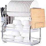 Multi-functional 3-Tier Dish Rack Kitchen Supplies Storage Rack Draining Rack with Chopsticks/Knives/Cutting Board Holder Drainboard