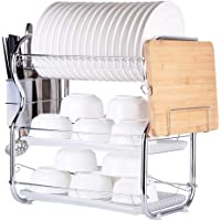 Multi-functional 3-Tier Dish Rack Kitchen Supplies Storage Rack Draining Rack with Chopsticks/Knives/Cutting Board Holder Drainboard