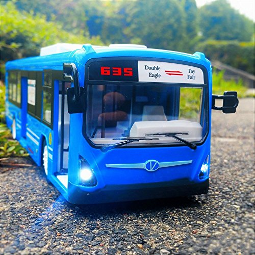 RC City Bus,CR 2.4GHz Remote Control City Bus Fast Opening Doors Transport Toy Bus With Realistic Lights and Whistle Sounds for Kids (Blue)