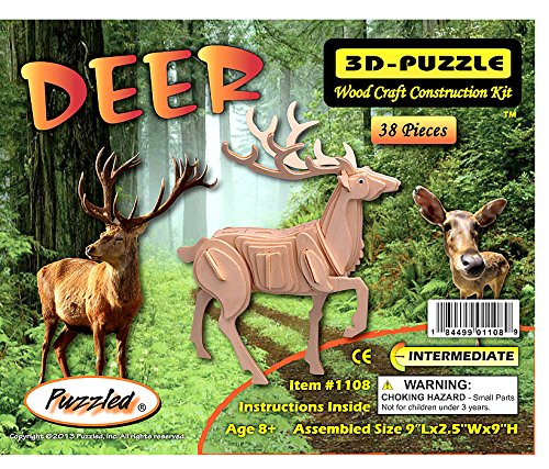 3-D Wooden Puzzle - Plum-Blossom Deer -Affordable Gift for your Little One! Item #DCHI-WPZ-M031 by All4LessShop