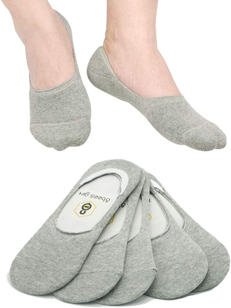 No Show Socks 8BEES GIFT Mens Low Cut Non-Slip Grips 3 Pairs Gray