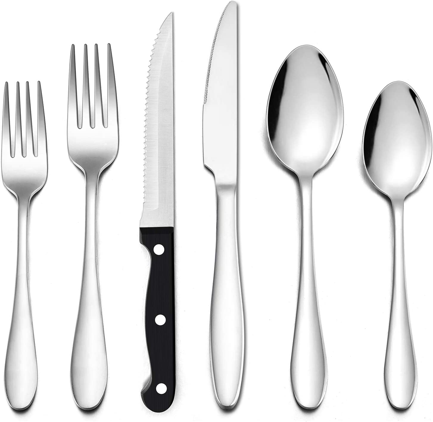 LIANYU 48-Piece Silverware Set with Steak Knives, Stainless Steel Flatware Cutlery Set for 8, Eating Utensils Tableware Include Forks Knives Spoons, Dishwasher Safe