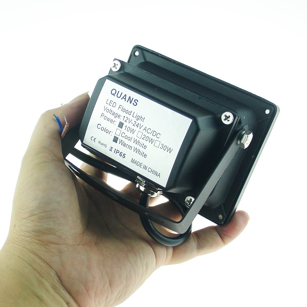 QUANS 10W 12V 24V DC AC LED Flood Light Lamp Floodlight Security Outdoor Waterproof Ultra Bright Black 4PCS Warm White