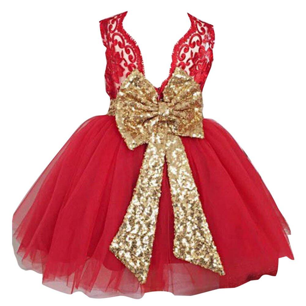 Niñas bowknot encaje Princesa Falda Summer Sequins Vestidos para Bebés niños pequeños 0-5 años