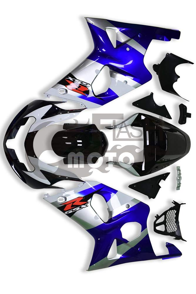 FlashMoto suzuki 鈴木 スズキ GSX R600 R750 2001 2002 2003用フェアリング 塗装済 オートバイ用射出成型ABS樹脂ボディワークのフェアリングキットセット (ブルー,ブラック)   B07MNGS897