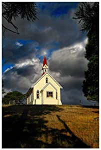 Art Church Old Country Church For Living Room bedroom kitchen restaurant Shop office Home Decor 24×36inch(60×90cm) Unframe-style1