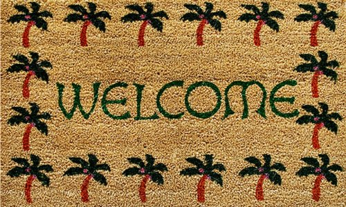 Home-More-120401729-Palm-Tree-Border-Welcome-Doormat-17-x-29-x-060-Multicolor