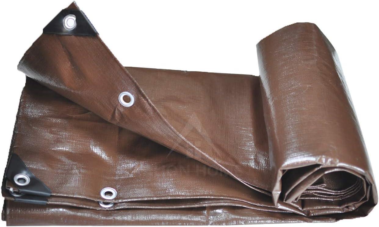 Alion Home Heavy Duty 12 Mil Poly Tarps Waterproof Covers for Tarpaulin Canopy, Camping, Carport, Boat, Furniture, Floors, RV, Pool or Roof Repair Items 12×20 ft 2-Pack , Brown