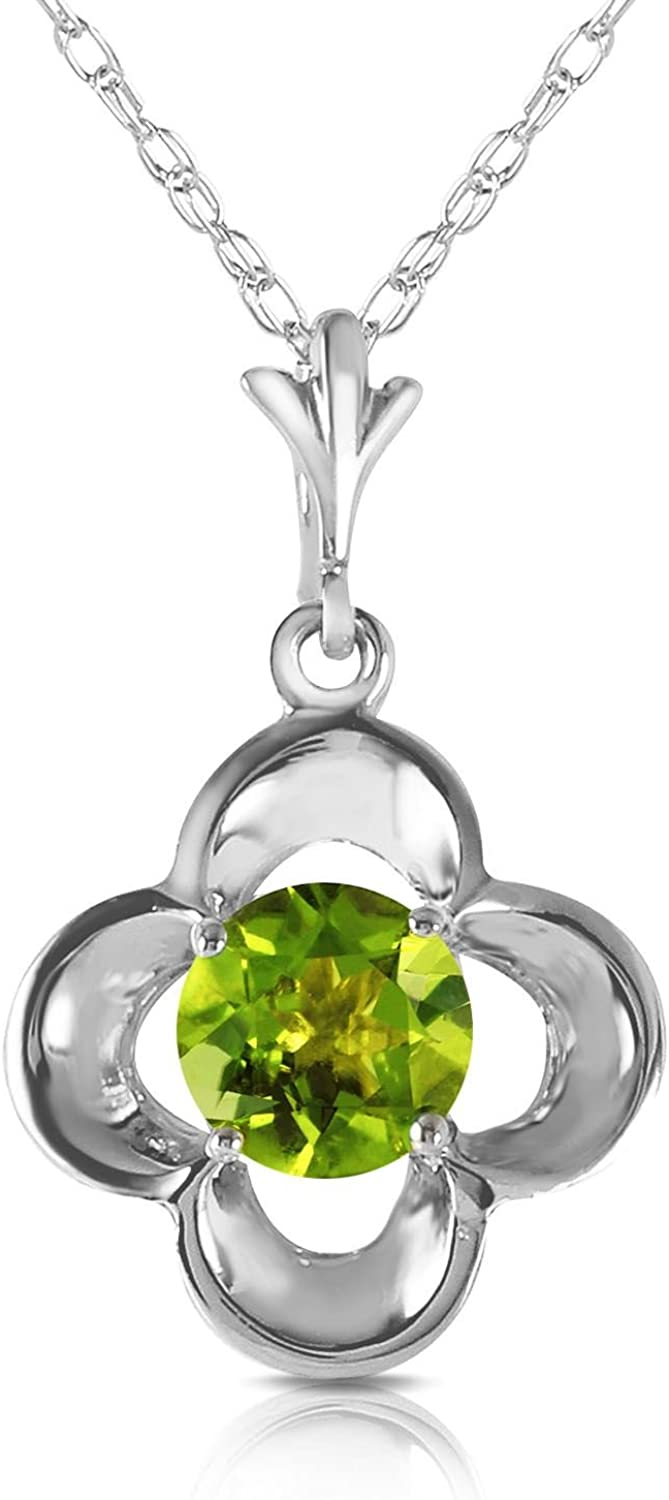 ALARRI 0.55 Carat 14K Solid White Gold Warm Life Peridot Necklace with 18 Inch Chain Length