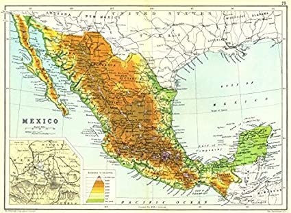Amazon.com: MEXICO: Physical map. Inset map of Mexico City area;1909 ...