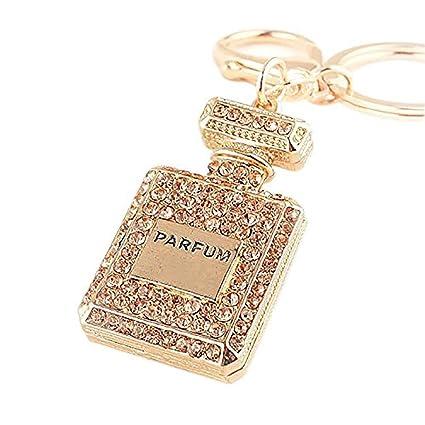 78a80fba036cb Amazon.com  Smartlife15 Crystal Key Chain Rhinestone Charm Key Ring Gift  for Womens Bag or Cellphone or Car Pendant (Coffee(Perfume Bottle))  Sports    ...