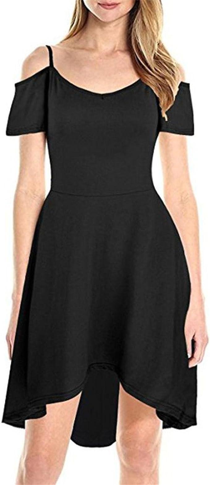 Moonuy,Damen Short Sleeve Dress, kalt aus Schulter Puff Sleeve