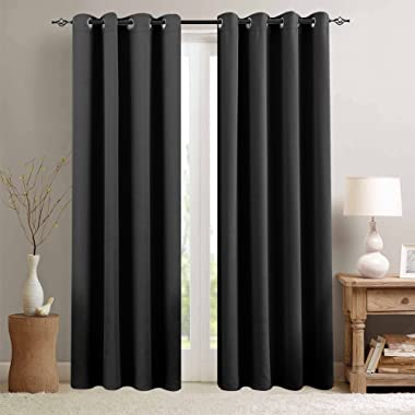 Blackout Curtains Black Living Room 84 inches Length Bedroom Light Blocking Window Curtains Triple Weave Room Darkening Curtain Panels Thermal Insulated Grommet Top Drapes