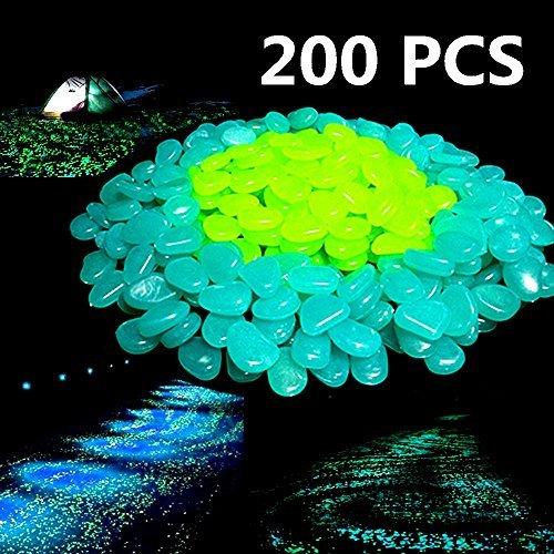200PCS Glow in The Dark Garden Pebbles,Glow Stones Rocks for Walkways Outdoor Decor Aquarium Fish Tank Garden Decorative Stones for Path Lawn Yard Walkway - Blue/Green -