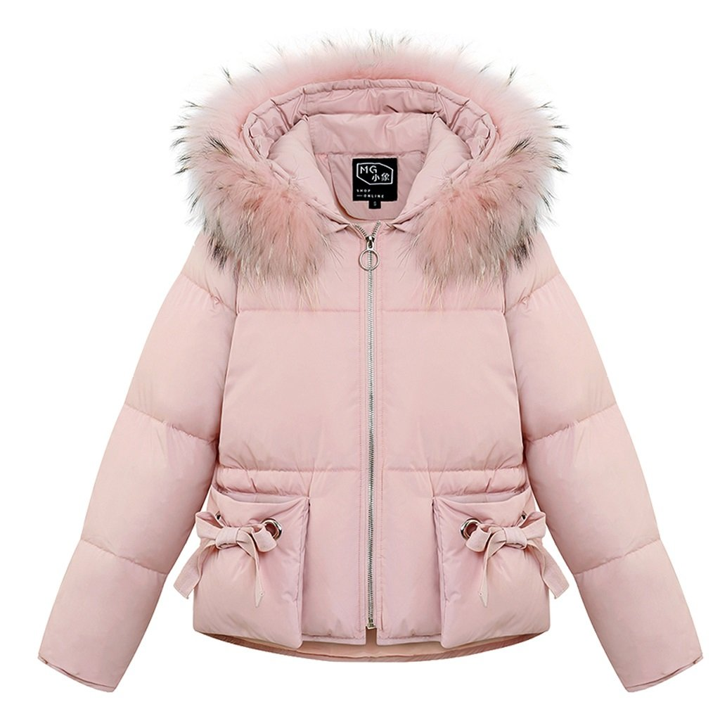 lime Fashion Comfortable Long Sleeves Hooded Thick Coat Winter Warm Sweet Women Short Sections Down Coat ( Color : Pink , Size : XL )