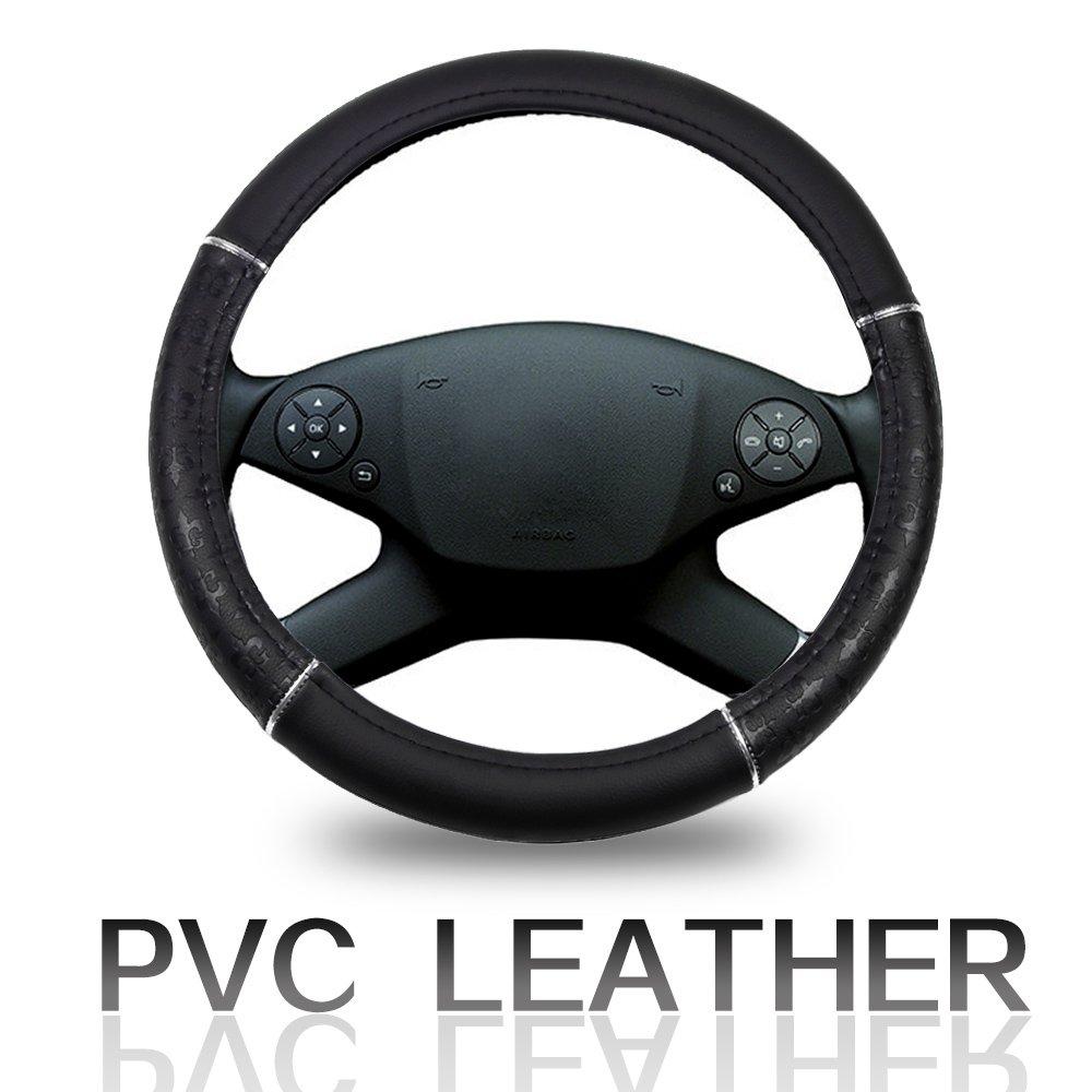 ECCPP Steering Wheel Cover 15 Inch Universal Leather Car Steering Wheel Cover Beige