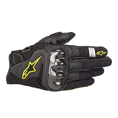 Alpinestars Men's SMX-1 Air v2 Motorcycle Riding Glove, Black/Fluorecent Yellow, Small: Automotive