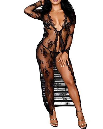 d057466ff Lingerie for Women Sexy Long Lace Dress Sheer Gown See Through Kimono Robe ( Black