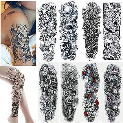 Amaza Tatuajes temporales para adultos hombre Mujer, Arte Corporal Brazos Completos tatuajes temporales, Brazo