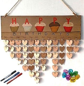 Wooden Family Friend Birthday Anniversary Reminder Calendar Hanging Plaque Decor