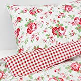 Valdern Rosali King Size Duvet Quilt Cover Bedding Set with Floral Rose Pattern 240 x 220 cm