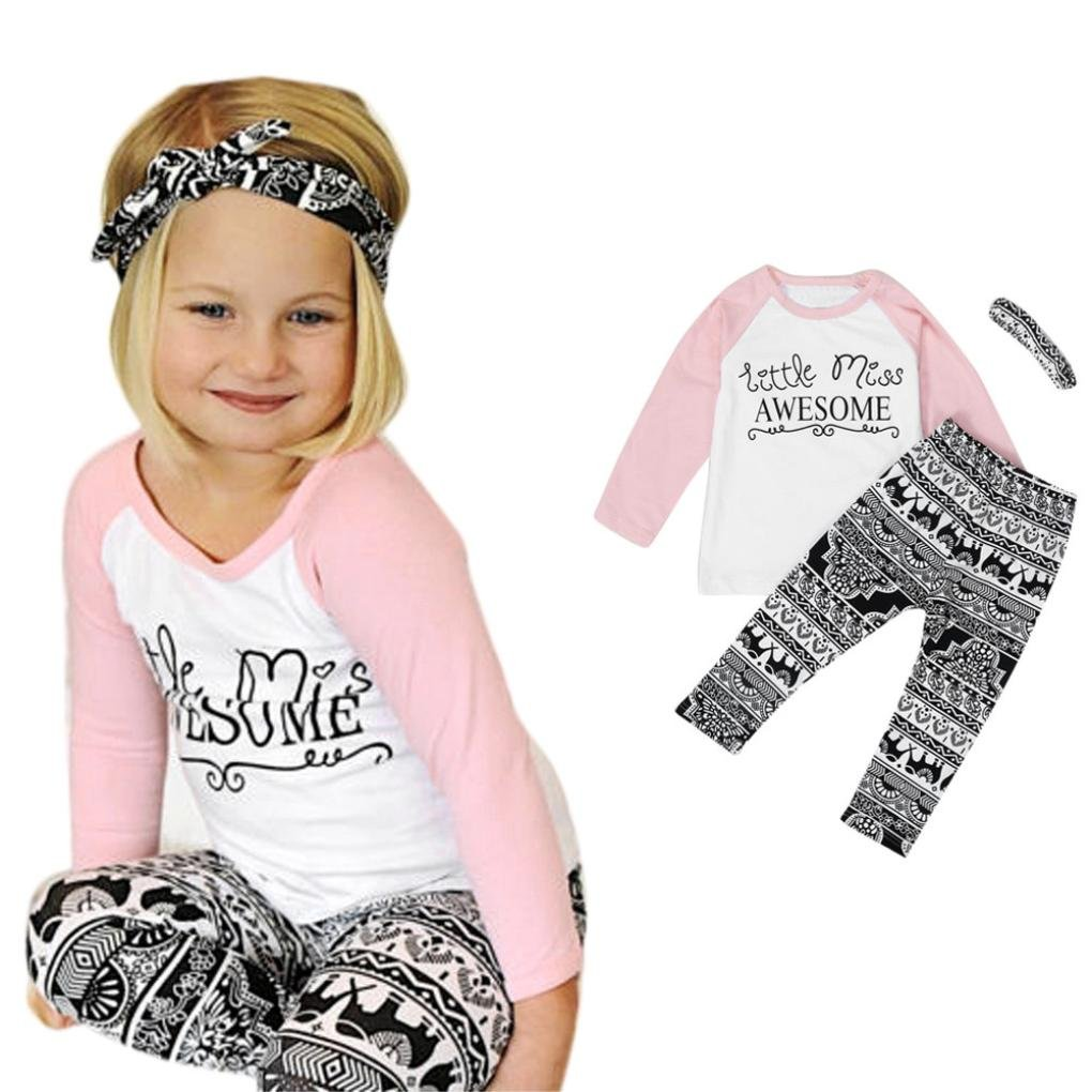Kids Little Girls Dress Pants Clothes Trendinao Toddler Girls Long Sleeve Blouse+Pants+Headbands Outfits
