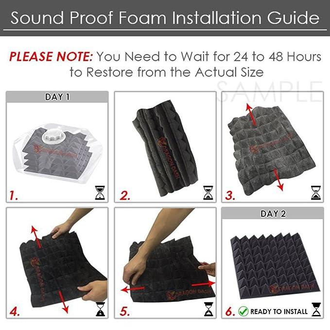 Super Dash (48 Piezas) DE 50 x 50 x 5 cm Negro Tegular Plano Estilo Bisel acústico hogar Estudio Soundproof Tratamiento Accesorios Espuma Panel de Pared ...